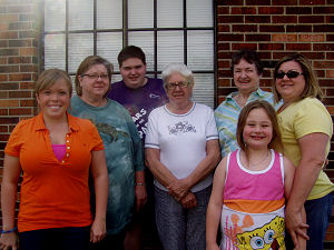 Left to right: Alice Rachel, me, Chris, Melba Chipley, Aunt Alice, Vanessa and Faith in front