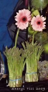 Asparagus Bundles with Gerbera Daisies
