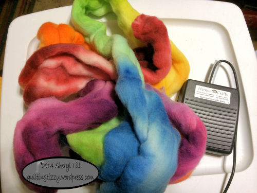 Lovely Merino Wool roving hand dyed by Loraine.