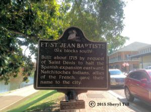 Fort St. Jean Baptist was founded there to prevent the Spanish from expanding eastward.